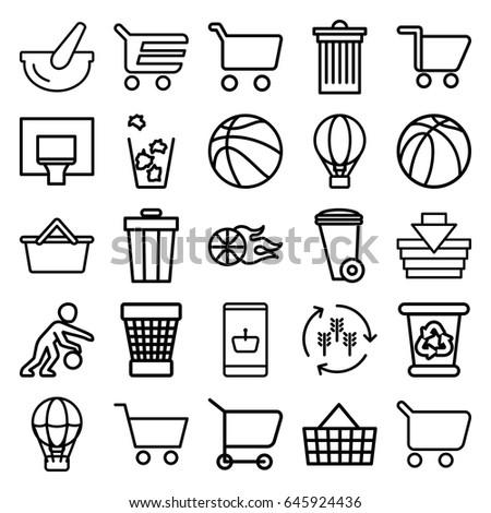 basket icons set set of 25