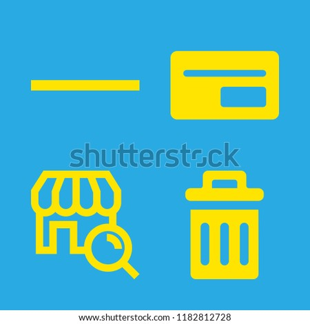basket icons set with commercial filled card, substract and recycle bin filled tool vector set