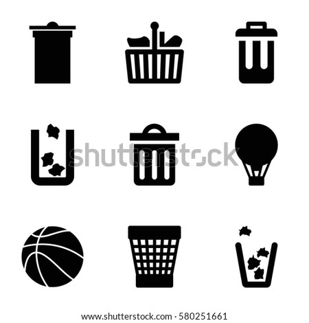 basket vector icons set of 9