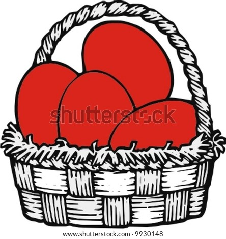 basket with easter red eggs