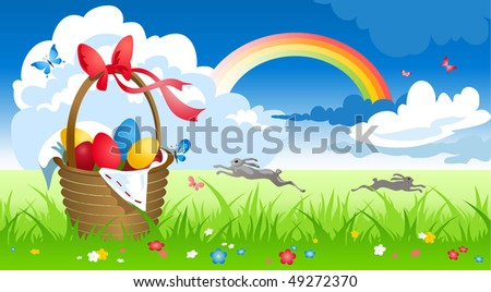 Basket with eggs in spring meadow
