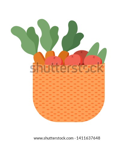 Basket with farmer products isolated carrot and potato, agriculture concept. Vector gardening and farming, shopping on salad, agronomy homegrown food