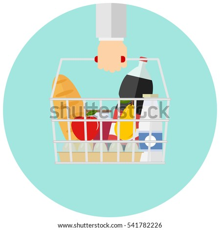 basket with food in hand  icon...