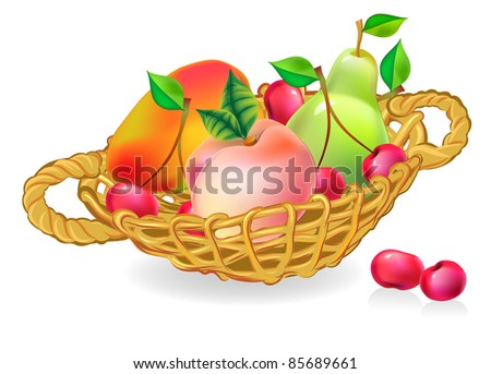 basket with fruits collection