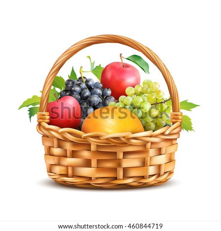 basket with fruits isolated on