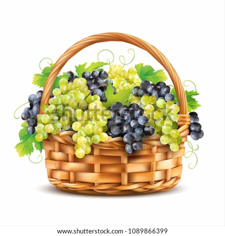 basket with ripe grapes