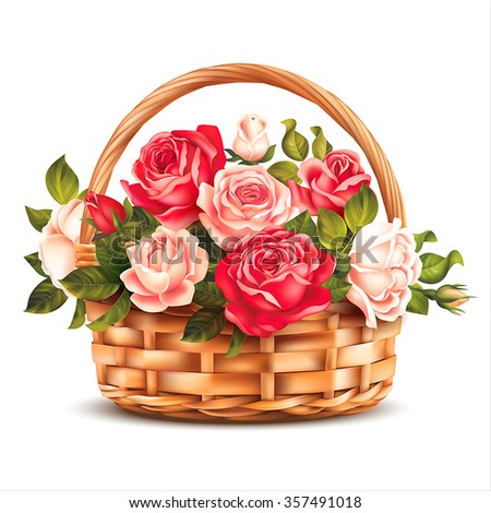 basket with roses isolated on...