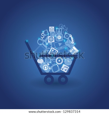 basket with shopping. vector background. eps10