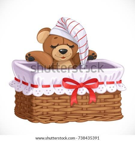 basket with teddy bear for