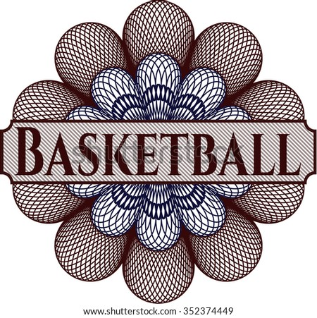 Basketball abstract linear rosette