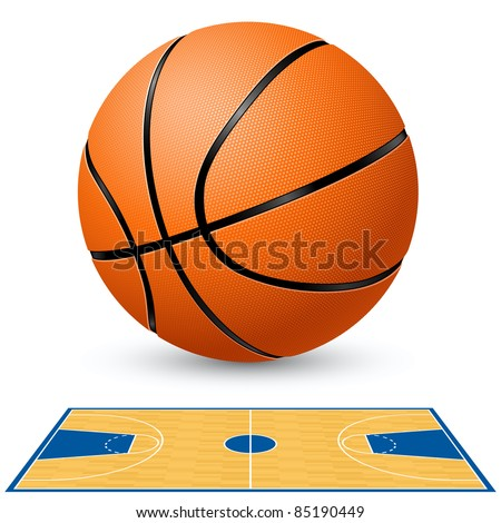 Basketball and basketball court floor plan. Illustration on white background.