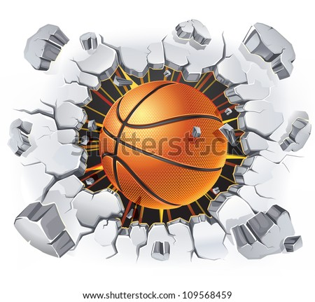 Basketball and Old Plaster wall damage. Vector illustration - stock vector