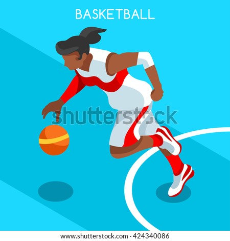 Infographic Ideas infographic basketball : Basketball Attack Player Athlete 2016 Summer Games Icon.3d ...