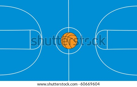 Basketball ball and court on separated layers, vector