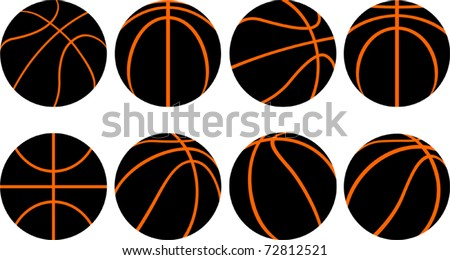 Basketball ball-8 different views - stock vector