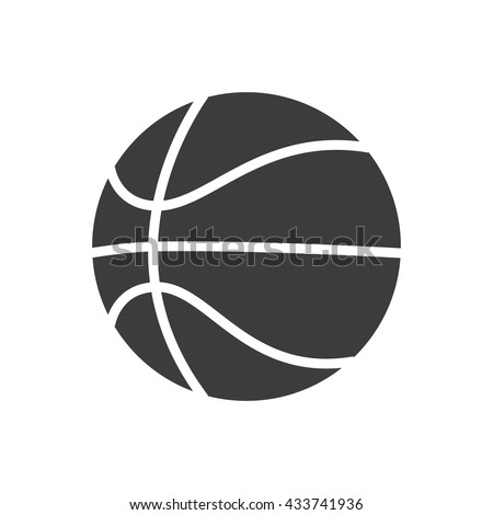Basketball ball icon. Flat vector illustration in black on white background. EPS 10