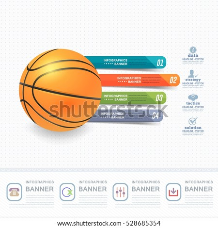Basketball Ball Infographics Design and Sports Web Banner, Stats Elements, Realistic Sport Vector Background