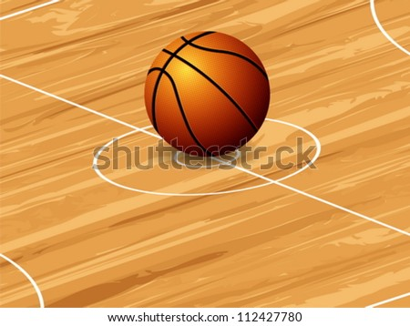 Basketball ball on court background. Vector illustration.