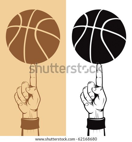 basketball ball on the finger