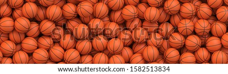 Basketball balls background. Many orange basketball balls lying in a pile. Realistic vector background