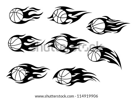 Basketball balls with fire flames for sport tattoos design
