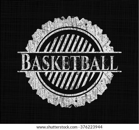 Basketball chalk emblem, retro style, chalk or chalkboard texture