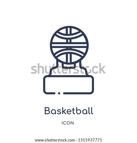 basketball champion icon from sports and competition outline collection. Thin line basketball champion icon isolated on white background.