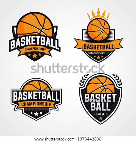 Basketball championship logo, emblem, designs with shield on a light background