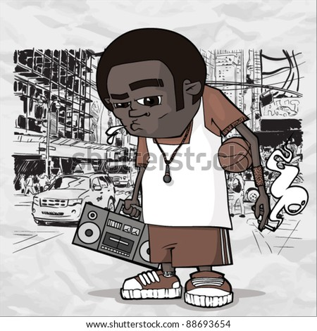 Basketball character on a city-background. Vector illustration. Place for your text.