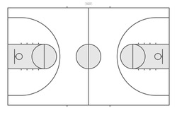 Basketball court background with line of court area pattern for create sport game. Vector illustration.