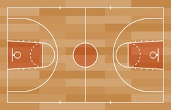 Basketball court floor with line on wood texture background. Vector illustration