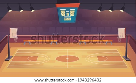 Basketball court landing page in flat cartoon style. Modern indoor stadium with wooden floor, scoreboard, hoops and tribune. Sports arena with spotlights. Vector illustration of web background Stock photo ©