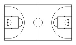 Basketball court line vector background. Outline basketball sports field for game background area illustration