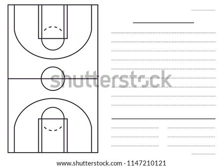 Basketball court mock up for coaches with blank space for text