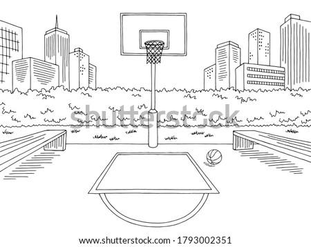 Basketball court street sport graphic black white city landscape sketch illustration vector Foto stock ©