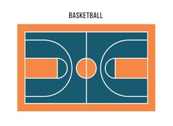 Basketball court top view. Blue orange court for play sport game. Flat vector illustration.