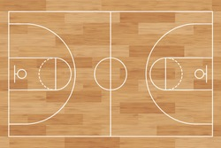Basketball court. Wooden floor. background painted with line and basket. Basketball field. Sport play. Overhead view. Texture with wood pattern. Playground top plan. Wooden board. Vector illustration