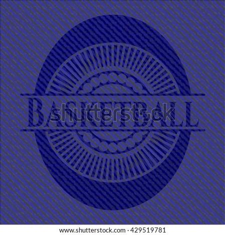 Basketball emblem with denim high quality background