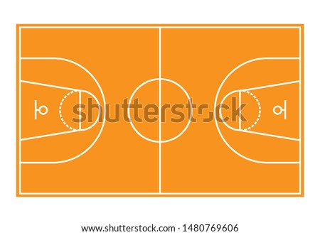 Basketball field.Basketball court illustration with lines.Top view Basketball field isolated on white background,