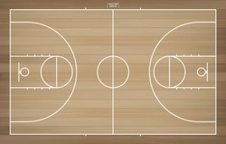 Basketball field for background. Top view of basketball court with line pattern area. Vector illustration.