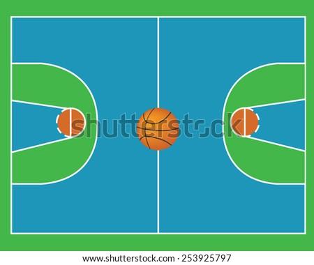Basketball field vector