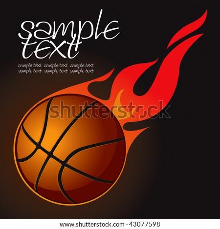 Basketball Fire Ball 2 Vector Drawing