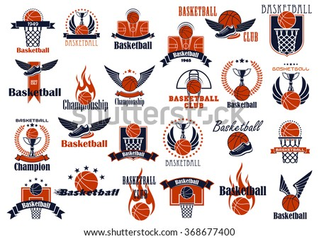 basketball game emblems in