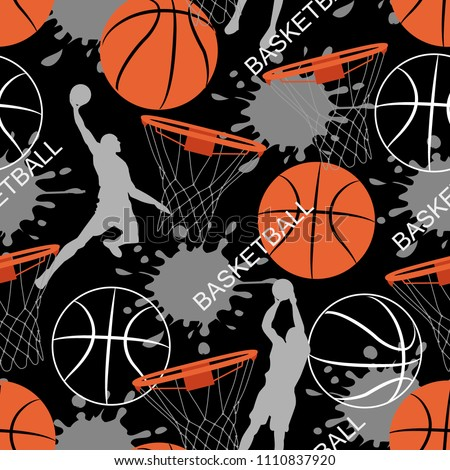 Basketball game seamless pattern. Sports abstract background. Basket balls texture. Seamless sport pattern with balls. Creative grunge design of sport. Sport vector