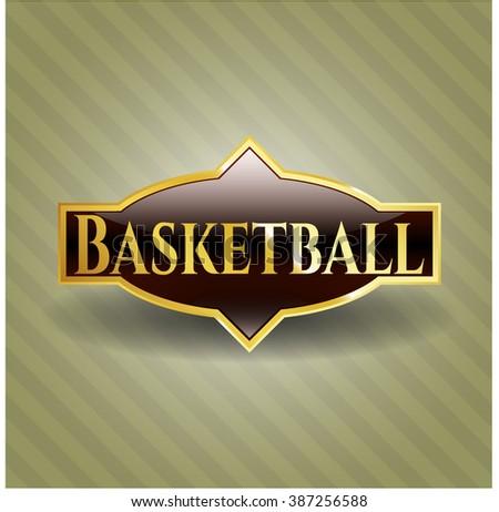 Basketball gold shiny emblem