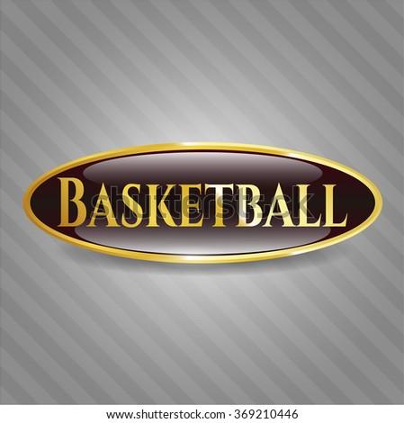 Basketball golden emblem or badge