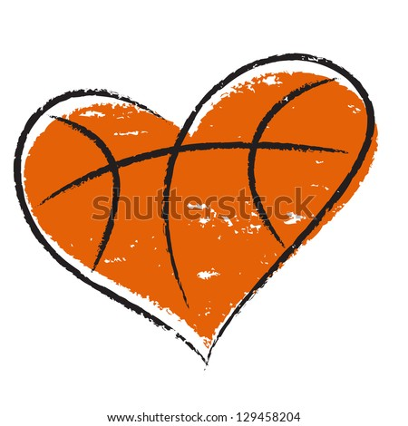 Basketball heart /  Vector illustration, isolated on white background