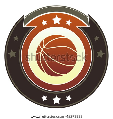 Basketball icon on round red and brown imperial vector button with star accents