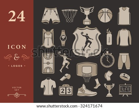 basketball icon set   stock