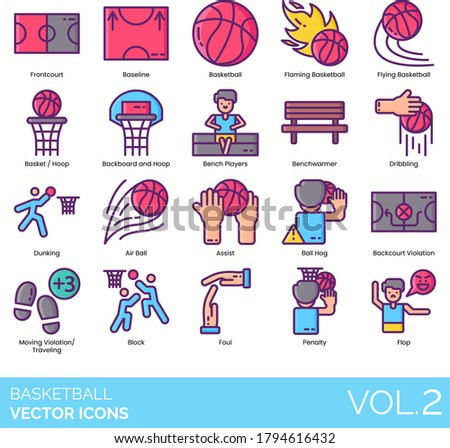 basketball icons including